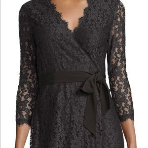 Diane von Furstenberg black lace wrap dress